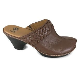 Sofft Mules Clogs Brown Leather Braided Women's 9M